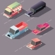 Retro Cars Moving on Highway Isometric Vector - GraphicRiver Item for Sale