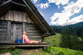 Woman camping and looking at inspiring mountain landscape - PhotoDune Item for Sale