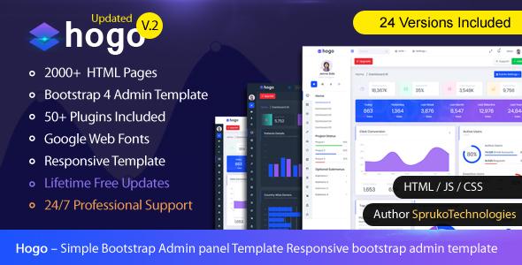 Hogo – Clean Multipurpose Responsive Bootstrap Simple Admin Panel Template