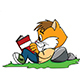 Cartoon Cat Lying on Grass Reading a Book Vector Illustration - GraphicRiver Item for Sale