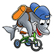 Cartoon Dolphin Character Riding a Tricycle - GraphicRiver Item for Sale