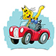 Cartoon Cats Travelling by a Red Convertible Car Vector Illustration - GraphicRiver Item for Sale