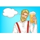 Hipster Man with Glass Full of Beer Cartoon Vector - GraphicRiver Item for Sale