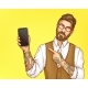 Hipster Man Pointing on Cellphone in Hand Vector - GraphicRiver Item for Sale