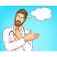 Male Doctor in White Gown Cartoon Vector Portrait - GraphicRiver Item for Sale