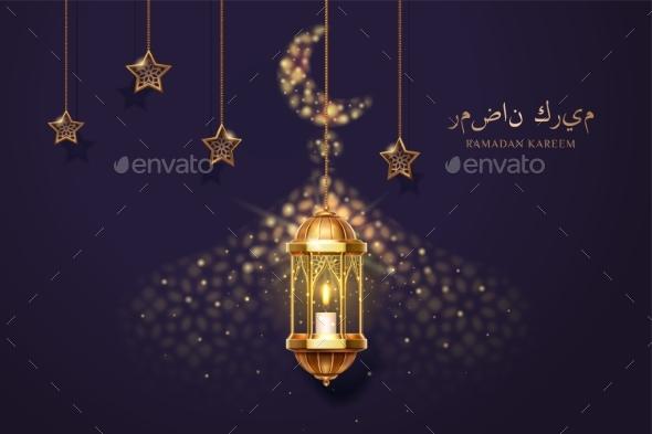 Ramadan Kareem Card with Eid Mubarak Greeting