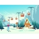Winter Leisure in Snowy Mountains Cartoon Vector - GraphicRiver Item for Sale