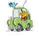 Cartoon Cat Driving a Green Car Vector Illustration - GraphicRiver Item for Sale