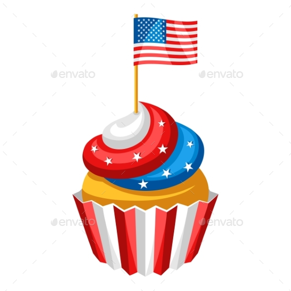 Cupcake with American Flag