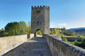 Medieval bridge over Ebro river in Frias, Burgos, Spain. - PhotoDune Item for Sale