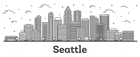Outline Seattle Washington City Skyline with Modern Buildings Isolated on White.