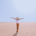 Beach fashion lady. Minimal desert landscape. Vacation mood - PhotoDune Item for Sale