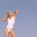Fashion Vacation Girl in the blue sky.  Beach look. Vacation min - PhotoDune Item for Sale