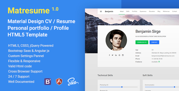 Angular Portfolio Website Templates from ThemeForest