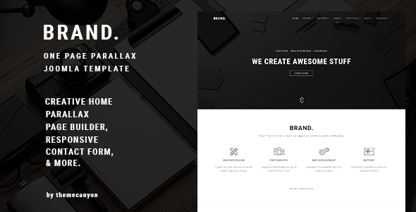 BRAND, - Creative One Page Parallax Joomla Template