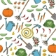 Seamless Pattern of Garden Tools, Fruits and Vegetables - GraphicRiver Item for Sale