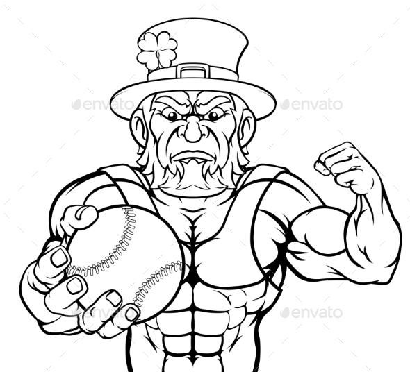 Leprechaun Holding Baseball Ball Sports Mascot