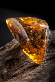 Natural amber stone. A piece of dirty transparent yellow amber on piece of stoned wood - PhotoDune Item for Sale