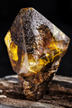 Natural amber stone. A piece of dirty amber with transparent yellow layer on piece of stoned wood - PhotoDune Item for Sale
