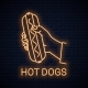 Hand Holds Hotdog Neon Banner - GraphicRiver Item for Sale