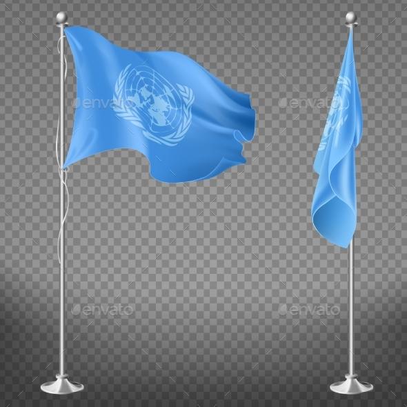 United Nations Organization Flag on Flagpole