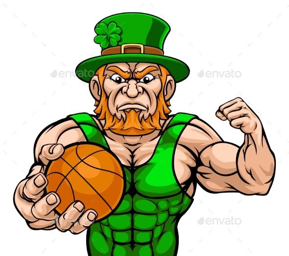 Leprechaun Holding Basketball Ball Sports Mascot