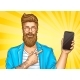 Bearded Hipster with Tattoos Point on Smartphone - GraphicRiver Item for Sale