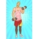 Bearded Man Doing Fitness Exercises with Dumbbells - GraphicRiver Item for Sale