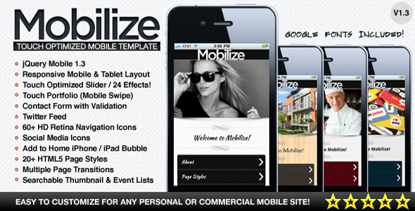 Mobilize - Touch Optimized Mobile Template