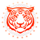 Tiger Head Front View Circular Tattoo - GraphicRiver Item for Sale