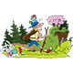 Cartoon Man Hiking in the Forest Vector Illustration - GraphicRiver Item for Sale