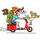 Cartoon Man Traveling on a Motorcycle With His Dog and Cat Vector Illustration - GraphicRiver Item for Sale