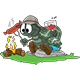 Cartoon Turtle Cooking Sausages on Fire and Drinking Wine - GraphicRiver Item for Sale