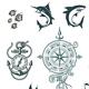 Set of Marine Emblems - GraphicRiver Item for Sale
