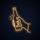 Hand Holds Beer Bottle Neon Sign - GraphicRiver Item for Sale