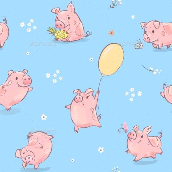 Pink Pig Seamless Pattern