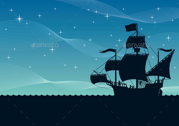 Ship Sailing Night