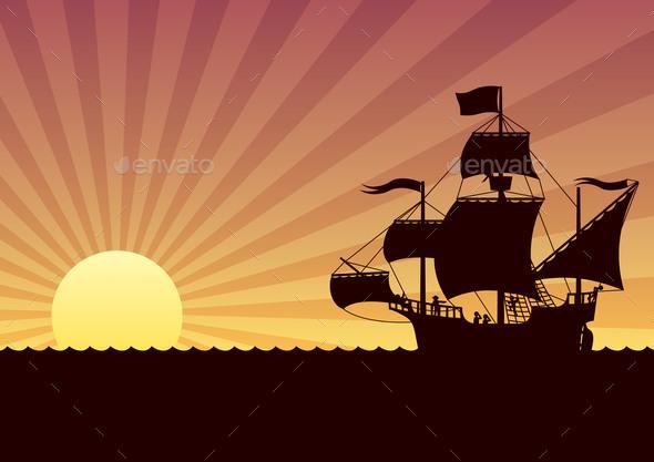 Ship Sailing Sunset