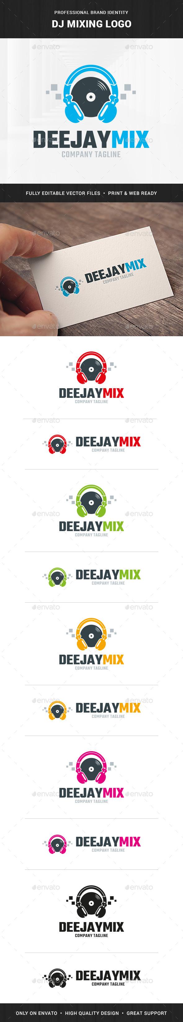DJ Mixing Logo Template