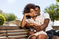 Outdoor protrait of black african american couple embracing each - PhotoDune Item for Sale