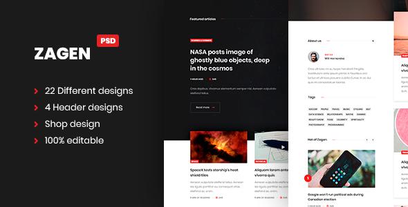 ZAGEN Blog and shop design PSD templates