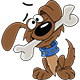 Cartoon Puppy Holding a Bone in His Mouth - GraphicRiver Item for Sale