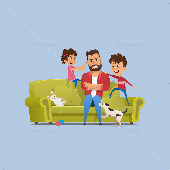Stressed Annoyed Father Naughty Children on Sofa