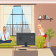Peaceful Calm Man Doing Home Yoga in Living Room - GraphicRiver Item for Sale
