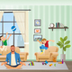 Angry Father Meditating Children Playing Around - GraphicRiver Item for Sale
