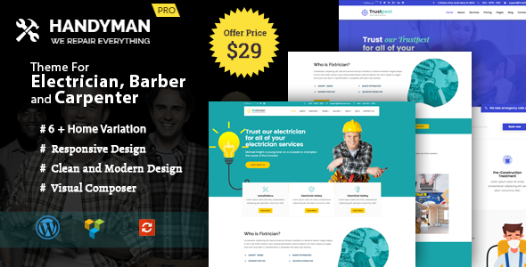 Handyman -  WordPress Theme for Electrician, Barber, Carpenter Services