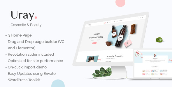 Uray - Cosmetic & Beauty Shop WordPress WooCommerce Theme