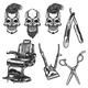 Set of Barber Equipment and Skulls - GraphicRiver Item for Sale