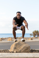 Black african american young man sdoing outdoor workout - PhotoDune Item for Sale