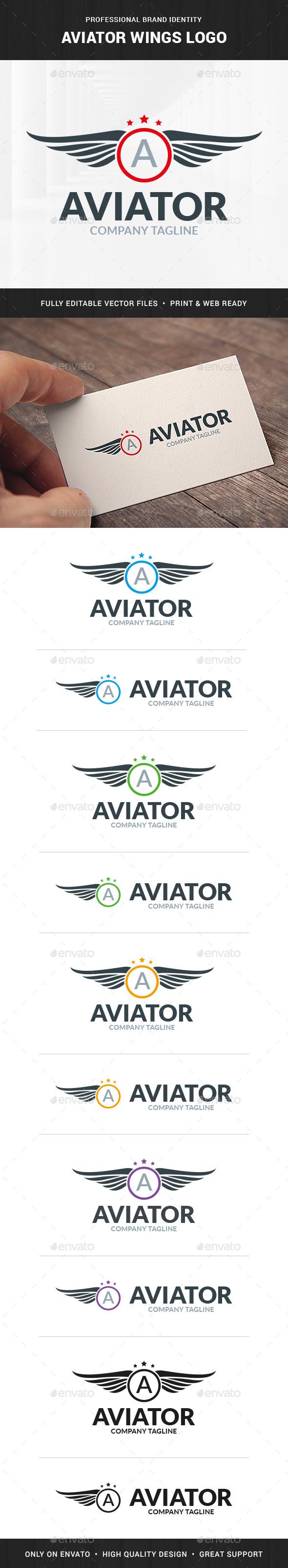 Aviator Wings Logo Template